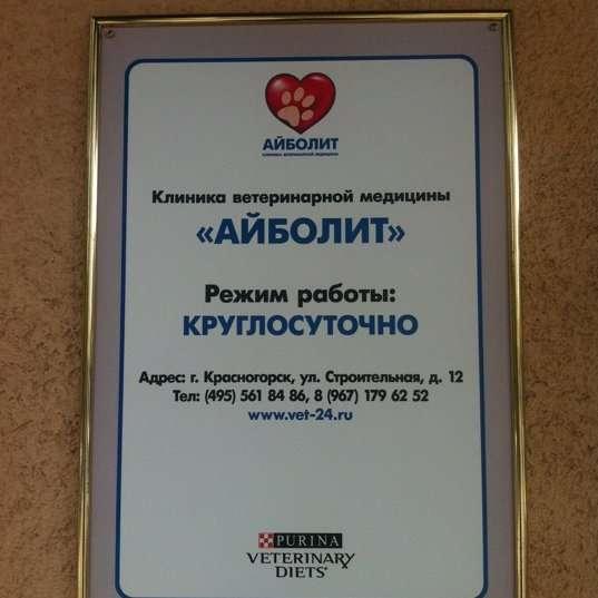"""Ветеринарная клиника """"Айболит"""" (Красногорск): адрес, режим работы, перечень услуг"""